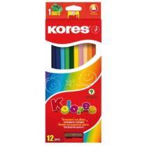 """Színes ceruza készlet, háromszögletű, KORES """"Triangular"""", 12 különböző szín"""
