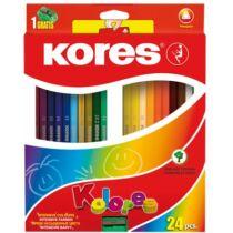 """Színes ceruza készlet, háromszögletű, KORES """"Triangular"""", 24 különböző szín"""