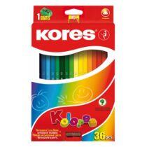 """Színes ceruza készlet, háromszögletű, KORES """"Triangular"""", 36 különböző szín"""