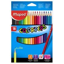 """Színes ceruza készlet, háromszögletű, MAPED """"Color`Peps"""", 18 különböző szín"""