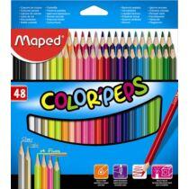 """Színes ceruza készlet, háromszögletű, MAPED """"Color`Peps"""", 48 különböző szín"""