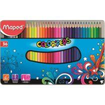"""Színes ceruza készlet, háromszögletű, fém doboz, MAPED """"Color`Peps"""", 36 különböző szín"""