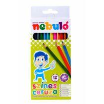 Színes ceruza készlet, hatszögletű,  NEBULÓ, 12 különböző szín