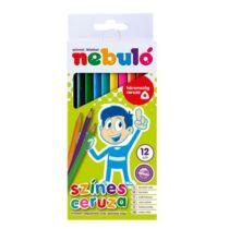 Színes ceruza készlet, háromszögletű,  NEBULÓ, 12 különböző szín