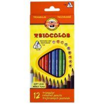 """Színes ceruza készlet, háromszögletű, KOH-I-NOOR """"Triocolor 3132/12"""", 12 különböző szín"""
