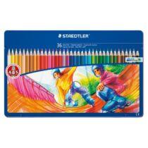 """Színes ceruza készlet, fém doboz, hatszögletű, STAEDTLER """"Noris Club"""" , 36 különböző szín"""