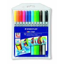 """Filctoll készlet, 1-3 mm, kétvégű, kimosható, STAEDTLER """"Noris Club"""", 12 különböző szín"""