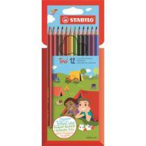 """Színes ceruza készlet, háromszögletű, STABILO """"Trio"""", 12 különböző szín"""
