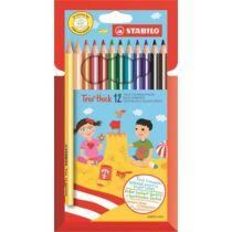 """Színes ceruza készlet, háromszögletű, vastag, STABILO """"Trio"""", 12 különböző szín"""