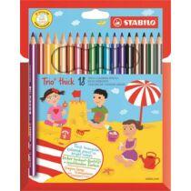 """Színes ceruza készlet, háromszögletű, vastag, STABILO """"Trio"""", 18 különböző szín"""