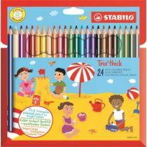 """Színes ceruza készlet, vastag, háromszögletű, hegyezővel, STABILO """"Trio"""", 24 különböző szín"""