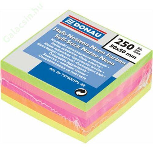 Öntapadó jegyzettömb, 50x50 mm, 5x50 lap, DONAU, neon szín