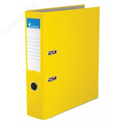 """Iratrendező, 75 mm, A4, PP/karton, élvédő sínnel, VICTORIA, """"Basic"""", sárga"""