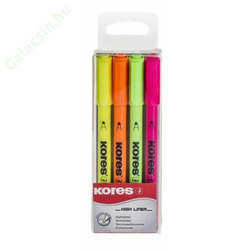 Szövegkiemelő készlet, 0,5-3,5 mm, KORES, 4 különböző szín