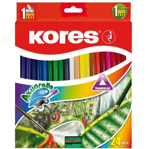 Akvarell ceruza készlet, hegyezővel, ecsettel, KORES, 24 különböző szín
