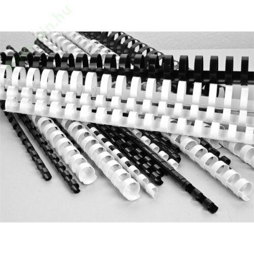 Spirál, műanyag, 8 mm, 21-40 lap, VICTORIA, fehér 100db