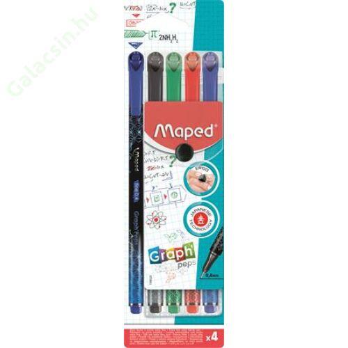 """Tűfilc készlet, 0,4 mm, MAPED """"Graph`Peps Premium"""", 4 különböző hagyományos szín"""