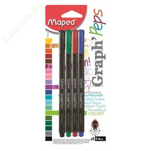 """Tűfilc készlet, 0,4 mm, MAPED """"Graph`Peps"""", 4 különböző hagyományos szín"""