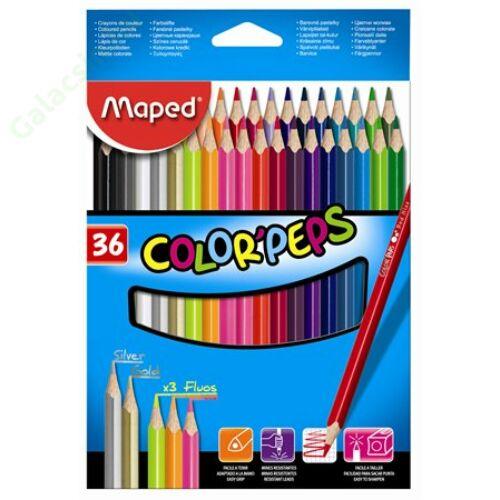 """Színes ceruza készlet, háromszögletű, MAPED """"Color`Peps"""", 36 különböző szín"""