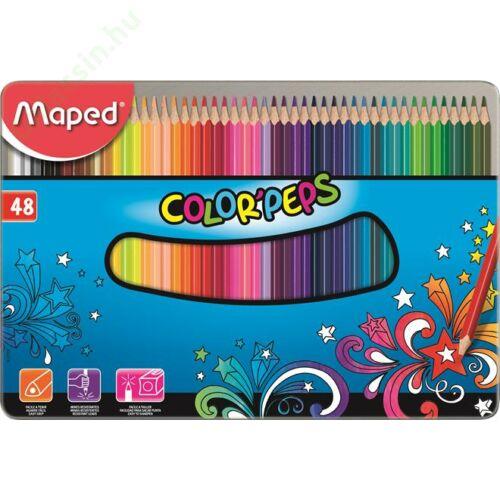 """Színes ceruza készlet, háromszögletű, fém doboz, MAPED """"Color`Peps"""", 48 különböző szín"""