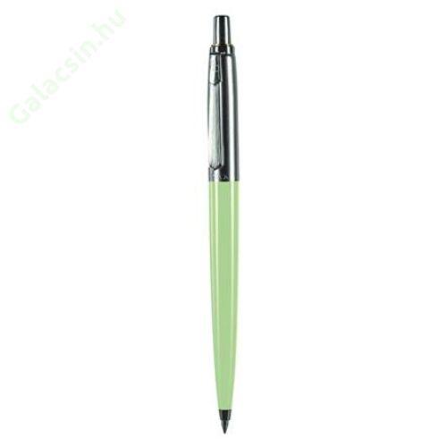 Golyóstoll, 0,8 mm, nyomógombos, dobozban, pasztell zöld tolltest, PAX, kék
