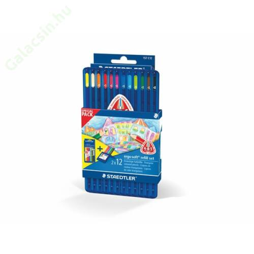 """Színes ceruza készlet, háromszögletű, STAEDTLER """"Ergo Soft"""" 12+12 szín"""
