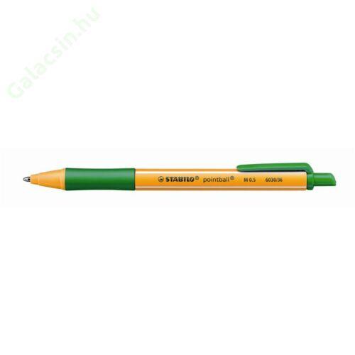 "Golyóstoll, 0,5 mm, nyomógombos, STABILO ""Pointball"", zöld"