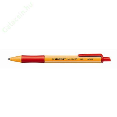 "Golyóstoll, 0,5 mm, nyomógombos, STABILO ""Pointball"", piros"
