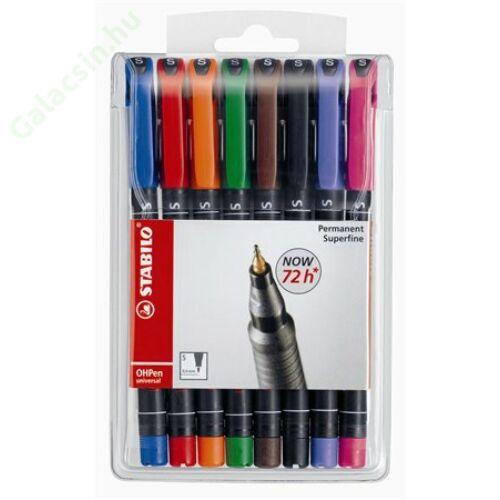 """Alkoholos marker készlet, 0,4 mm, STABILO """"OHPen S"""", 8 különböző szín"""